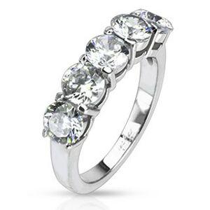 Oceľový prsteň - päť okrúhlych čírych zirkónov v dvojitej objímke - Veľkosť: 49 mm