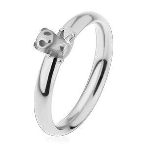 Oceľový prsteň pre deti, strieborný odtieň, malý macko, jemne vypuklé ramená - Veľkosť: 49 mm