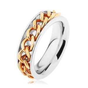 Oceľový prsteň, retiazka zlatej farby, zrkadlový lesk - Veľkosť: 51 mm