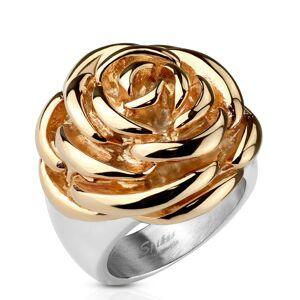 Oceľový prsteň - rozkvitnutý kvet ruže medenej farby - Veľkosť: 60 mm