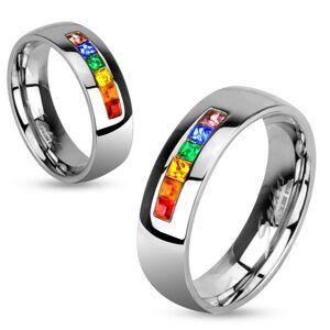 Oceľový prsteň s rôznofarebnými zirkónmi - Veľkosť: 70 mm