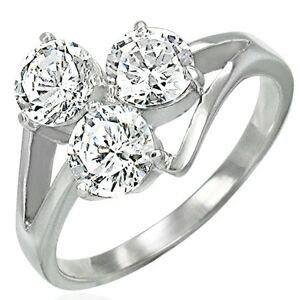 Oceľový prsteň s troma čírymi zirkónmi na vystupujúcich líniách - Veľkosť: 53 mm