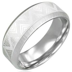 Oceľový prsteň so skosenými hranami - Triangel - Veľkosť: 56 mm