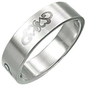 Oceľový prsteň so srdiečkovým ornamentnom - Veľkosť: 62 mm