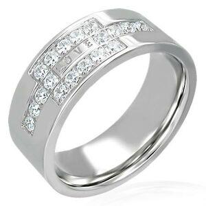 Oceľový prsteň so zirkónmi a nápisom LOVE - Veľkosť: 60 mm