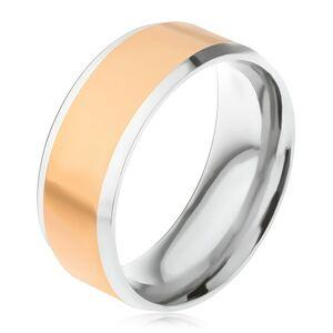 Oceľový prsteň, stredový pás zlatej farby, šikmé okraje striebornej farby - Veľkosť: 59 mm