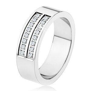 Oceľový prsteň - strieborná farba, lesklý, dvojitá línia čírych zirkónov - Veľkosť: 66 mm