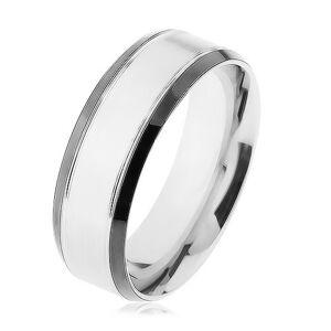 Oceľový prsteň, strieborná farba, lesklý lem čiernej farby - Veľkosť: 64 mm