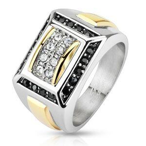 Oceľový prsteň striebornej a zlatej farby, čierne a číre zirkóny, obdĺžniky - Veľkosť: 60 mm