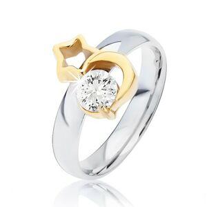 Oceľový prsteň striebornej farby, mesiac zlatej farby, obrys hviezdy a číry zirkón - Veľkosť: 58 mm