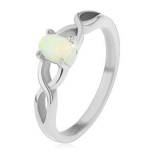 Oceľový prsteň striebornej farby, oválny syntetický opál, prekrížené ramená - Veľkosť: 56 mm