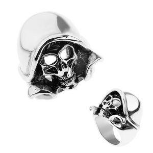 Oceľový prsteň striebornej farby, patinovaná lebka s kapucňou - Veľkosť: 60 mm