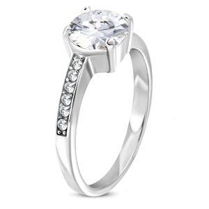 Oceľový prsteň striebornej farby s asymetrickými ramenami a čírymi zirkónmi - Veľkosť: 55 mm