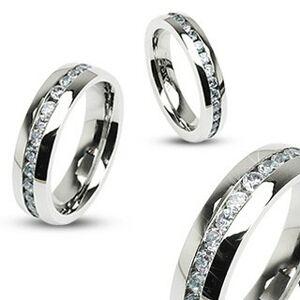 Oceľový prsteň striebornej farby, stredová línia čírych zirkónov - Veľkosť: 52 mm