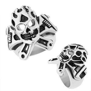 Oceľový prsteň striebornej farby, vypuklá patinovaná lebka, francúzsky kľúč - Veľkosť: 62 mm