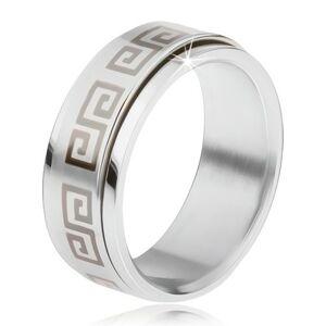 Oceľový prsteň, točiaca sa matná obruč, grécky kľúč sivej farby - Veľkosť: 65 mm