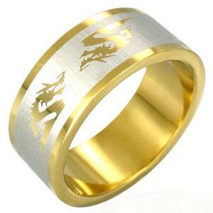 Oceľový prsteň v zlatej farbe čínsky drak - Veľkosť: 56 mm
