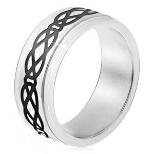 Oceľový prsteň, vyvýšený pás, motív sĺz a kosoštvorcov, hrubé línie - Veľkosť: 56 mm