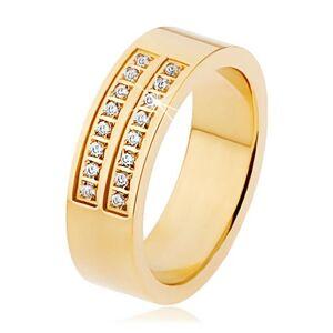 Oceľový prsteň zlatej farby, dvojitá línia čírych zirkónov - Veľkosť: 63 mm