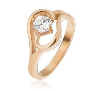 Oceľový prsteň zlatej farby, ramená ukončené vlnkou, číry zirkón - Veľkosť: 51 mm