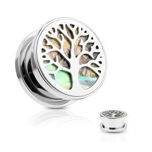 Oceľový tunel do ucha, strom života, kruh z mušle Abalone, strieborná farba - Hrúbka: 8 mm