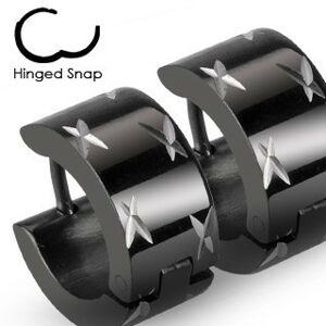 Okrúhle čierne náušnice z ocele, lesklé krížiky v striebornom odtieni