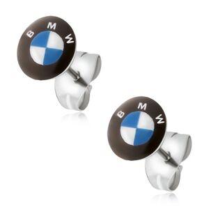 Okrúhle náušnice z ocele - bielo-modré logo, čierny kruh