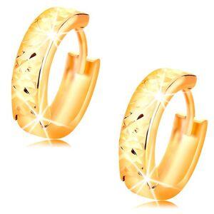 Okrúhle zlaté náušnice 14K s brúseným ligotavým povrchom, vysoký lesk