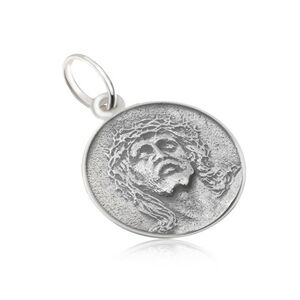 Okrúhly medailón s tvárou Ježiša, matný, patinovaný, zo striebra 925