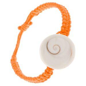 Oranžový šnúrkový pletenec s kruhovou imitáciou lastúry
