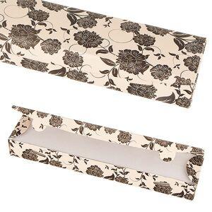 Papierová darčeková krabička - béžová s čiernymi kvetmi