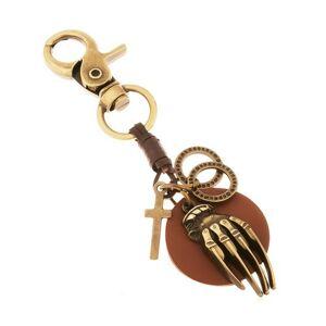 Patinovaná kľúčenka v mosadznej farbe, kruh z umelej kože s rukou, kruhy, kríž