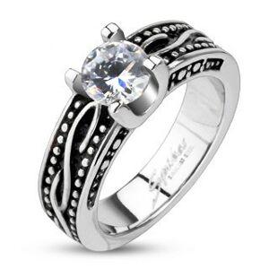 Patinovaný prsteň z chirurgickej ocele so zirkónom - Veľkosť: 56 mm