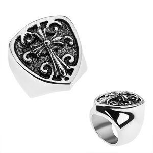 Patinovaný prsteň z ocele 316L, erb s ľaliovým krížom, ornamenty - Veľkosť: 62 mm
