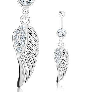 Piercing do brucha - oceľ 316L, anjelské krídlo s čírymi zirkónikmi, strieborný odtieň