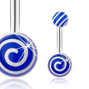 Piercing do brucha, oceľ 316L, strieborný odtieň, modré guličky, biele špirály