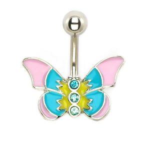 Piercing do brucha - pastelový motýľ so zirkónmi