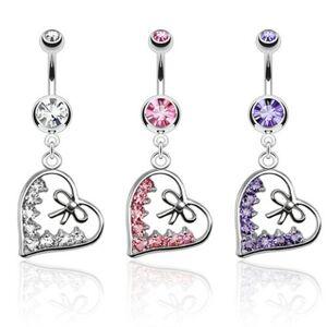 Piercing do brucha z ocele, obrys srdca zdobený mašľou a zirkónmi - Farba zirkónu: Číra - C