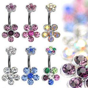 Piercing do bruška z ocele s farebnými zirkónovými kvetmi - Farba zirkónu: Fialová - A