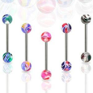 Piercing do jazyka farebná mramorová gulička - Farba piercing: Biela - Čierna