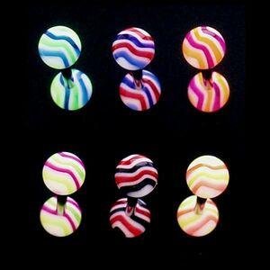 Piercing do jazyka - farebné vlnky - Farba piercing: Fialová - Oranžová