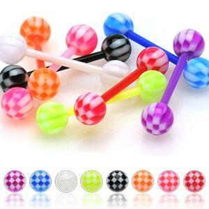 Piercing do jazyka z UV flexibilného materiálu šachovnicová gulička - Farba zirkónu: Fialová - A