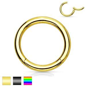 Piercing do nosa a ucha, chirurgická oceľ, jednoduchý lesklý krúžok, 2 mm - Farba piercing: Zlatá