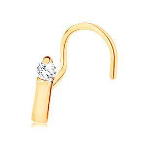 Piercing do nosa v žltom 14K zlate - úzky pásik ukončený čírym zirkónom