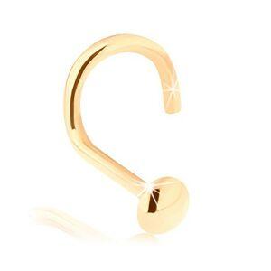 Piercing do nosa v žltom 14K zlate - zahnutý, vypuklá okrúhla hlavička