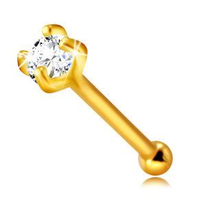 Piercing do nosa zo 14K zlata - číry okrúhly zirkónik medzi štyrmi paličkami, 2 mm
