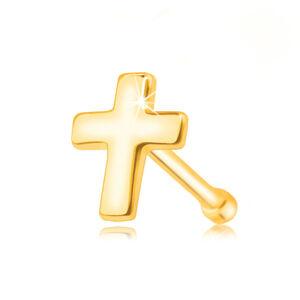 Piercing do nosa zo zlata 375 - lesklý latinský krížik