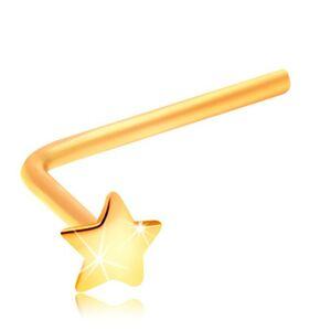 Piercing do nosa zo žltého 14K zlata - malá hviezdička, zahnutý tvar
