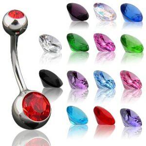 Piercing do pupka s maličkým a väčším zirkónom - Rozmer: 10 mm x 4x6 mm, Farba zirkónu: Ružová - P