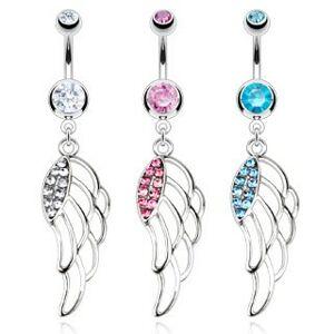 Piercing do pupka z chirurgickej ocele - farebné vyrezané krídla - Farba zirkónu: Aqua modrá - Q